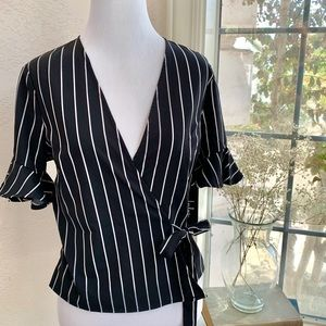 Lulus Black and White Striped Wrapped Bodice Top
